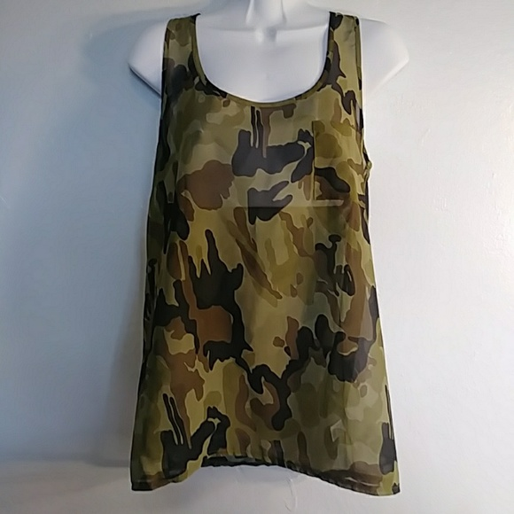 96f45df26cab5 the arte by zenana Tops | Sheer Camouflage Racer Back Tank Sz M ...